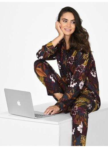 Nbb Kaplanlı Önden Düğmeli Dokuma Kadın Pijama Takımı 67085 Renkli